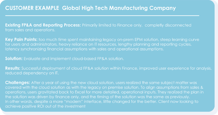 Customer Example: Global High Tech Manufacturing Company