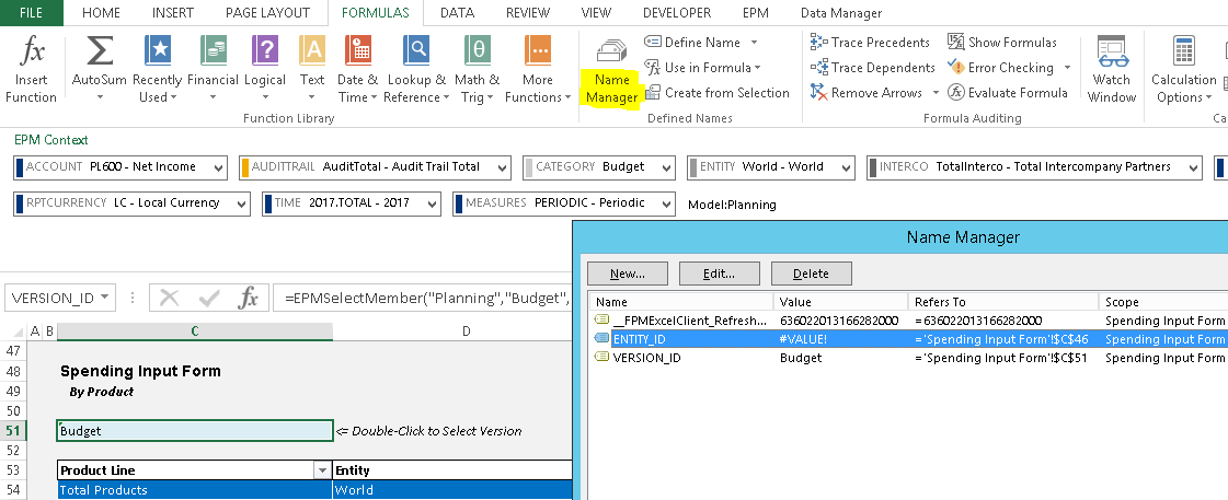 Native Excel Features with BPC
