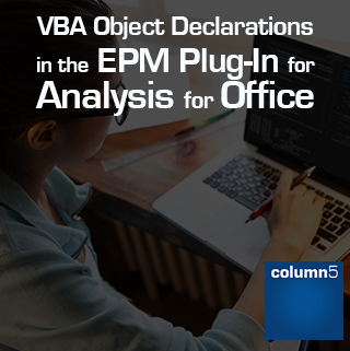 VBA Object Declarations in the EPM Plug-In for Analysis for Office